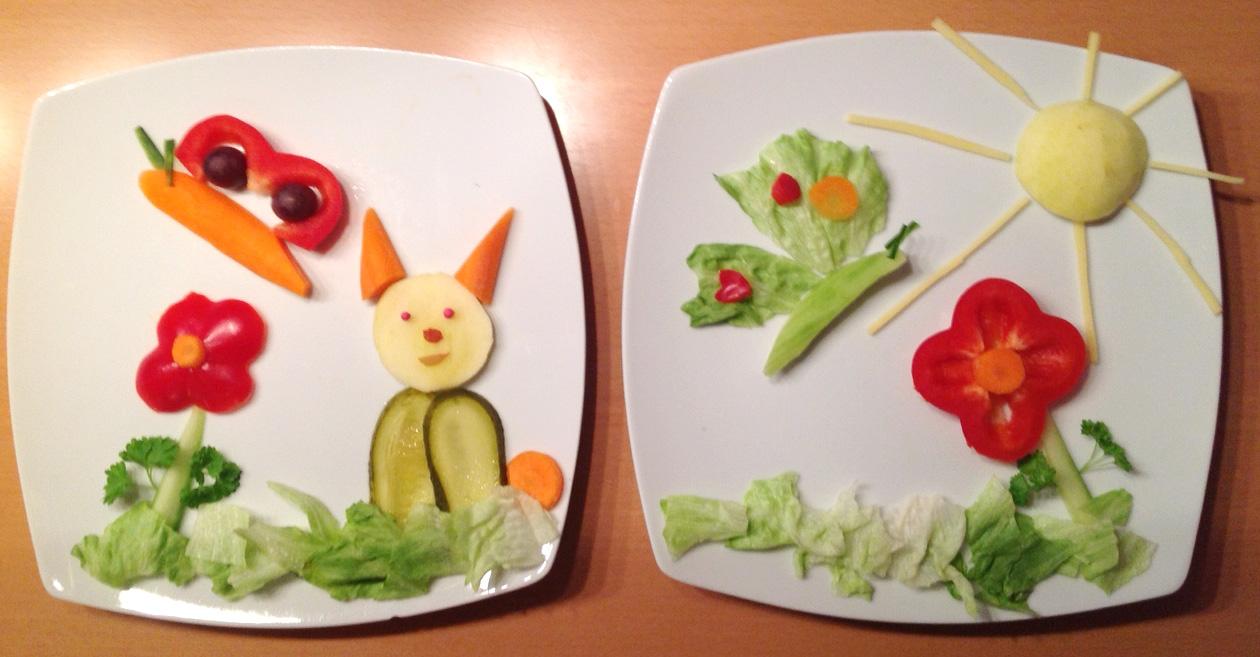 Ein doppelter Vitaminschnitzer für Besuch. Wise mit Blumen, Schmetterlingen und Hase. Vorhandene Ideen zusammengemixt.