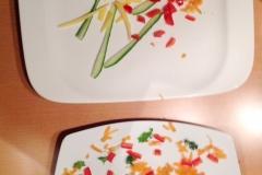 Passend zu Silvester: doppeltes Feuerwerk. Eins von Mama, ein von Tochter. Karotte, Paprika, Petersilie, Gurke, Käse.