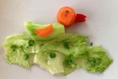 Kleine Ente aus Karotte, Salatgurke und Paprika im Eisbergsalatsee.