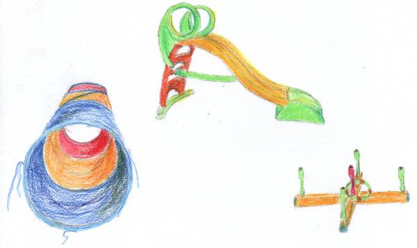 Zeichnung Krabbeltunnel, Rutsche, Ringe werfen