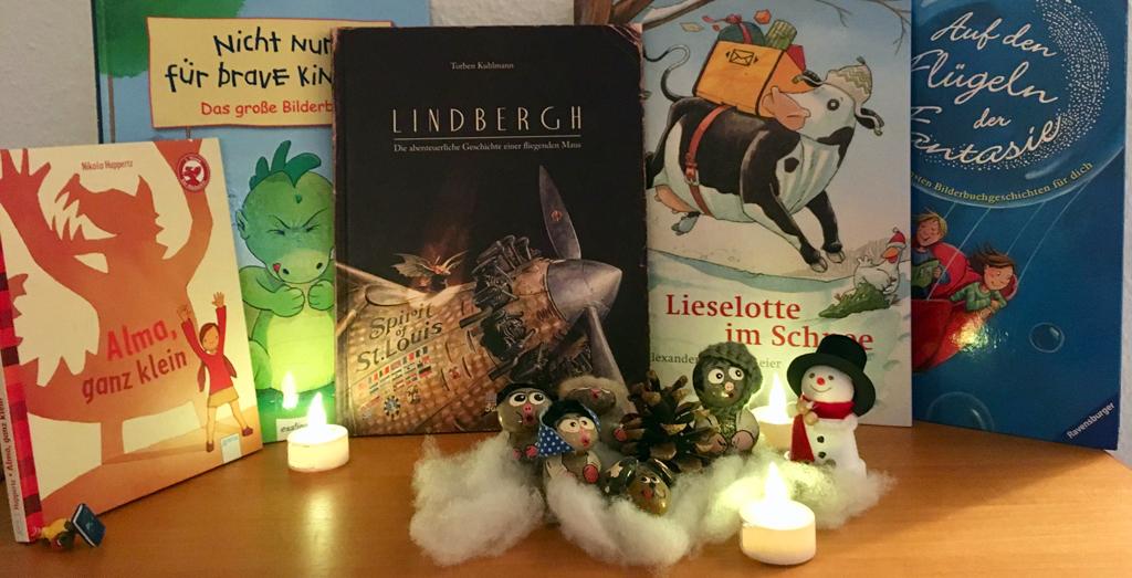 Lieblingsbücher mit Steinmännchen Winterlandschaft