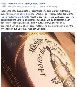 Screenchot eines Facebook Posts zum Roman.