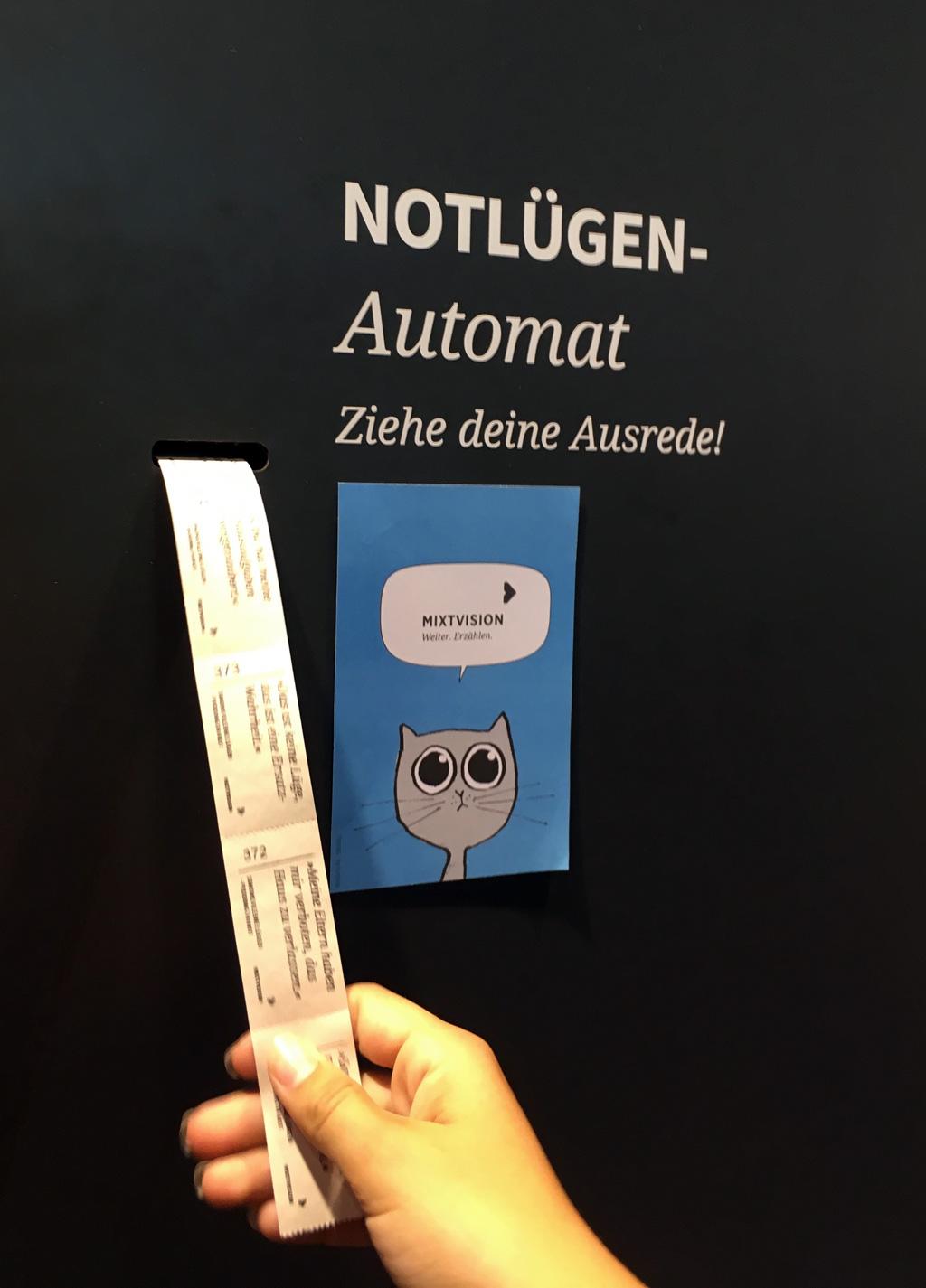Notlügen ziehen am Automat bei Mixtvision.